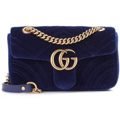 GG Marmont Mini velvet shoulder bag Gucci (10.745 NOK) ❤ liked on Polyvore featuring bags, handbags, shoulder bags, gucci, shoulder handbags, navy blue purse, blue handbags, velvet purse and mini shoulder bag