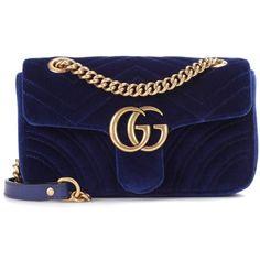 Gucci GG Marmont Mini Velvet Shoulder Bag (€1.195) ❤ liked on Polyvore featuring bags, handbags, shoulder bags, gucci, blue, velvet handbag, gucci handbags, gucci shoulder bag, blue shoulder bag and navy purse