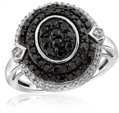 Ice 1 CT Round Black and White Diamond Sterling Silver Vintage Halo Ring by JewelonFire