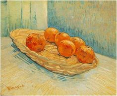 """Still Life with Basket and Six Oranges - Vincent van Gogh.saw this at the DAM show, """"Becoming van Gogh"""". Vincent Van Gogh, Artist Van Gogh, Van Gogh Art, Art Van, Van Gogh Still Life, Theo Van Gogh, Van Gogh Paintings, Dutch Painters, Painting Still Life"""