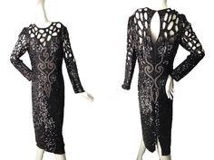 Vintage Designer Neiman Marcus Black Formal Sequin by DIYstylist