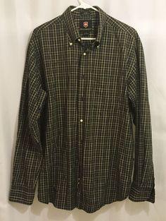 Victorinox Men's 100% Cotton Button Front Dress Shirt Size Large Black Plaid…