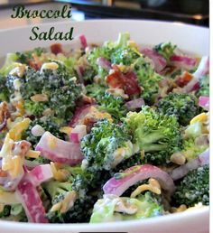 Broccoli salad Ingredients 5 cups broccoli florets,uncooked ½ medium red onion, thinly sliced 8 slices bacon, cooked and crumbled 1 cup old cheddar cheese, grated DRESSING: 1 cup miracle whip 4 Tbsp. white sugar 3 Tbsp. white wine vinegar  Instructions Prepare and toss together salad ingredients. Whisk together dressing ingredients. Pour dressing over salad and mix well. Cover and refrigerate, stir occasionally to blend salad and dressing. Let stand in fridge a few hours to overnight.