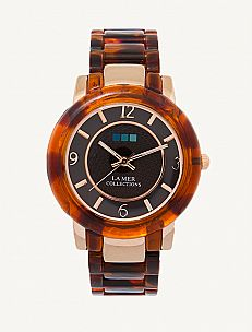 Rose Gold-Tortoise Shell Indo Lucite Watch