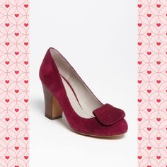 Hinge suede pumps in burgundy suede These are gorgeous! I just have too many shoes - I think I wore these once, maybe twice.   Bought at Nordstrom in Austin.  Great wooden block heel for stability! They're super-comfy & TTS. Hinge Shoes Heels