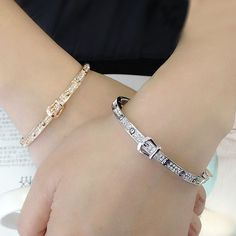 Crystal Encrusted Slim Belt Buckle Bangle  Members get a 10% discount off their cart total! Enter the code: addicted during check out to get the discount