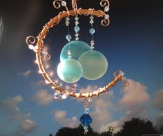 Once in a Blue Moon. Stained Glass Windchime. Mobile