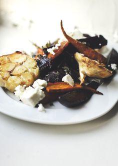 roasted beats, carrots, garlic + goat cheese