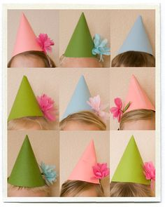 DIY Spring kids party hats (for classroom) idea..