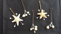 Set of 3 Natural White Starfish & Swarovski by theInspiredStarfish