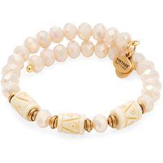 Alex & Ani Women's Deep Sea Shore Wrap Bracelet - Cream/Tan ($20) ❤ liked on Polyvore featuring jewelry, bracelets, wrap bracelet, alex and ani, cream jewelry, alex and ani bangles and alex and ani jewelry