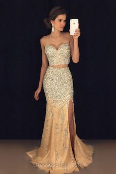 Mermaid Prom Dresses, Sweetheart Prom Dress, Two Piece Evening Gowns, Sexy Party Dresses, Champange Formal Dresses