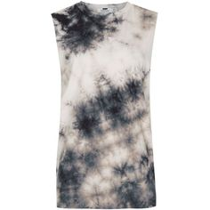 TOPMAN White And Black Batik Wash Oversized Tank Vest (€17) ❤ liked on Polyvore featuring men's fashion, men's clothing, men's shirts, men's tank tops, black, mens oversized shirt, batik bay mens shirts, mens black white striped shirt, mens crew neck t shirts and mens cotton tank tops