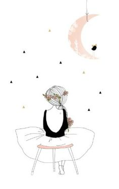 """""""Muse"""" Illustration My Lovely Thing - Marie Pertriaux Art And Illustration, Illustrations, Ballerina Illustration, Jolie Photo, Oeuvre D'art, Painting & Drawing, Moon Drawing, Watercolor Art Paintings, Art Drawings"""