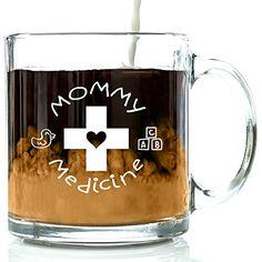 Mommy Medicine Funny Novelty Glass Coffee Mug, 13 Ounces…