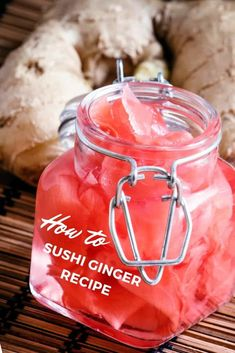 Often served with sushi or sashimi as a side dish, pickled ginger… Shot Recipes, Tea Recipes, Cooking Recipes, Relish Recipes, Sushi Recipes, Cooking 101, Chutney Recipes, Asian Recipes, Turmeric Ginger Tea Recipe