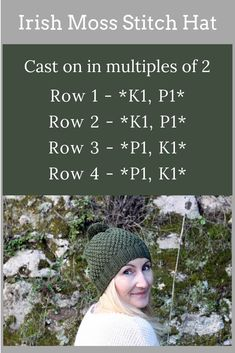 Irish Moss Stitch Hat Pattern - Make a hat with this easy and free knitting patt. knitting stitches Irish Moss Stitch Hat Pattern - Make a hat with this easy and free knitting patt. Knitting Stiches, Loom Knitting Patterns, Free Knitting, Knitting Hats, Knit Hats, Free Knitted Hat Patterns, Crochet Stitches, Round Loom Knitting, Free Pattern