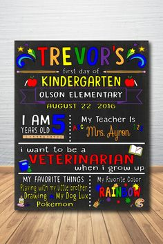 First Day of School Chalkboard, First Day of School Sign, Back to School…