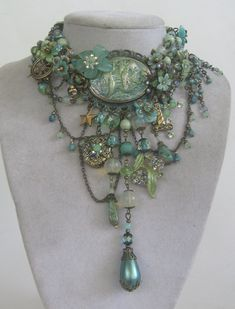 Mermaids Ocean Sea:  OOAK Signed #mermaid necklace in soft mint and seafoam colors, with delicate chain and hidden locket, by Jeanie Schlegel Merrick: Jewellery Artist.