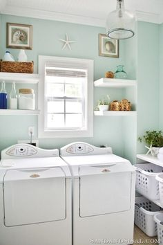 "Sand & Sisal Laundry Room. I know I've pinned this before but I love the wall color ""Rainwashed"" by Sherwin Williams"