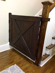 Barn Door Style Solid Oak Baby Gate or Pet Gate Made with Reclaimed Barn Wood Baby Gate For Stairs, Barn Door Baby Gate, Diy Baby Gate, Pet Gate, Barn Doors, Dog Gates, Staircase Gate, Stair Gate, Stairway