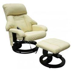Buy Recliner Massage Chair with Ottoman Cream Black |Homcom