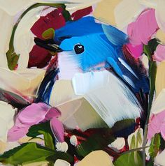 Cerulean Warbler and Sweet Peas original bird oil painting by Angela Moulton