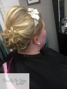 Bridal Updo for very short and fine hair. Classically Chic Designs by Leslie. www.ccdbyleslie.com