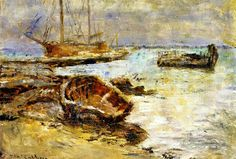 The Athenaeum - Boats at Williamstown, Melbourne (Frederick McCubbin - ) Australian Painting, Australian Artists, Williamstown Melbourne, Native Indian, Art School, Impressionism, Boats, Paintings, Masters