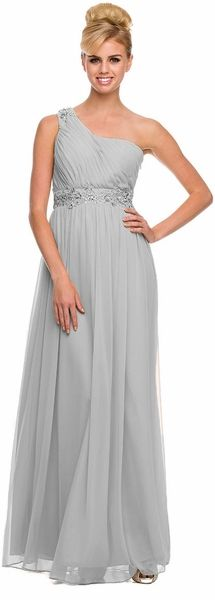 Silver Prom Gown Chiffon #discountdressshop #silverdress #promgown #chiffondress…