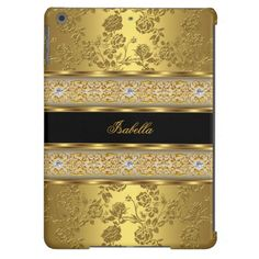 Elegant Classy Gold Damask Floral Case For iPad Air