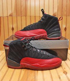 1b478c744a55 2009 Nike Air Jordan Retro 12 XII Size 12-Flu Game Black Red Bred-