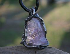 MEN NECKLACE AMETHYST necklace raw necklace purple