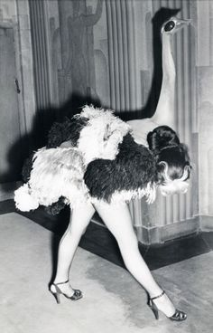 "vintagegal: "" 1951 ""Ostrich"" dancer in the Folies Bergere show at theLondon Hippodrome """