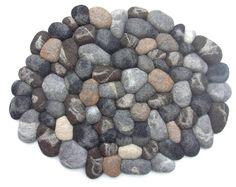 Felt stone rug / bath mat super soft with soft core wool grey brown