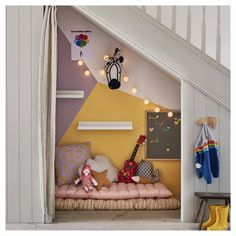 DIY under stairs - A DIY project for the we. The spaces under the stairs are often unused. Under Stairs Nook, Diy Deco Rangement, Tiny Bedroom Design, Bed Nook, Stair Storage, Home Staging, New Room, Office Interiors, Kids House