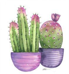 Potted cactus in purple pots original watercolor painting art garden indoor plants Watercolor Cactus, Watercolor Trees, Watercolor Animals, Watercolor Background, Watercolor Landscape, Abstract Watercolor, Watercolor Illustration, Watercolor Paintings, Simple Watercolor