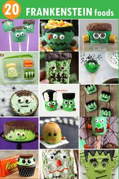 20 Frankenstein food ideas for Halloween -- A roundup of fun food crafts for your Halloween party or for Halloween classroom treats.