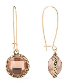 Gold Tone Plated Glass Stone Drop Earrings