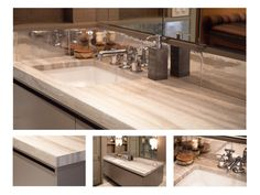 Complete Tile Collection RECYCLED ALUMINUM MASTER BATH, Master Bath - Travertine Vanity Top