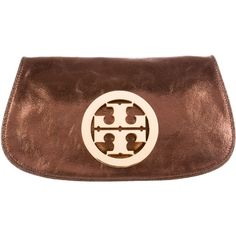 Pre-owned Tory Burch Metallic Reva Clutch ($175) ❤ liked on Polyvore featuring bags, handbags, clutches, gold, brown leather handbags, brown handbags, leather handbags, leather purses and metallic clutches