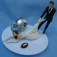 wedding topper... plus a packers hat behind the groom