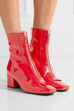 Heel measures approximately 50mm/ 2 inches Red patent-leather Zip fastening…