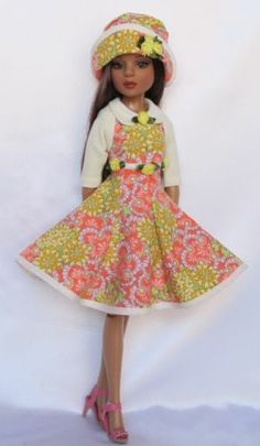 """Ellowyne, Sunny in Springtime - Knit Shrug Ensemble with Sleeveless Dress and Hat for 16"""" Ellowyne, by ssdesigns via eBay, SOLD 2/15/14  $48.99"""