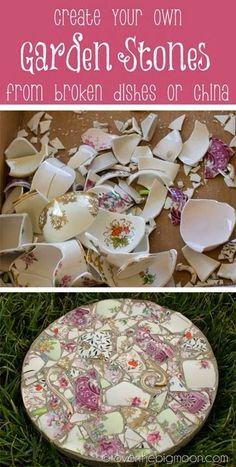 Mosaic garden stepping stones. How to take broken dishes and create beautiful garden stones.