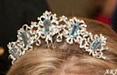 The Smaller Aquamarine Tiara that Queen Elizabeth II received from the Governor of São Paulo. Here Sophie, Countess of Wessex wore it to the Luxembourg wedding in Oct.