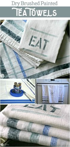 How to Paint cotton kitchen tea towels using a dry brush method. Homemade gift ideas | Easy Craft Ideas. See more by clicking on the photo. TodaysCreativeLife.com