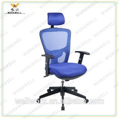 WORKWELL luxury morden executive office chair with headrest/blue mesh office chair KW-F6105a #Chairs, #blue