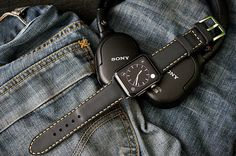 Custom Made Padded Vintage Leather Strap incl. Lugs Adapter and Buckle for Apple Watch (or Apple Watch Sport) 42mm or 38mm BF90-D130