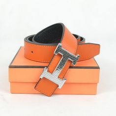 Hermes Belt H1006 Orange Black Silver - orange works fabulously in the Caribbean.